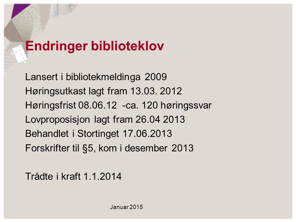 Endringer biblioteklov Lansert i bibliotekmeldinga 2009 Høringsutkast lagt fram 13.03. 2012 Høringsfrist 08.06.12 -ca. 120 høringssvar Lovproposisjon