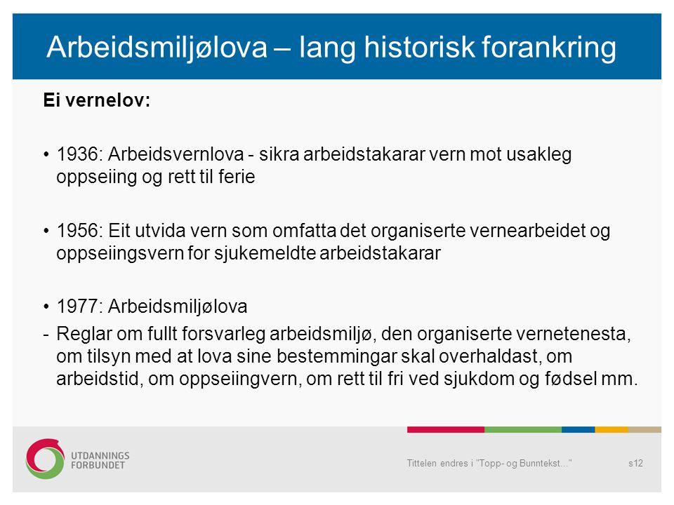 Arbeidsmiljølova – lang historisk forankring Ei vernelov: 1936: Arbeidsvernlova - sikra arbeidstakarar vern mot usakleg oppseiing og rett til ferie 19