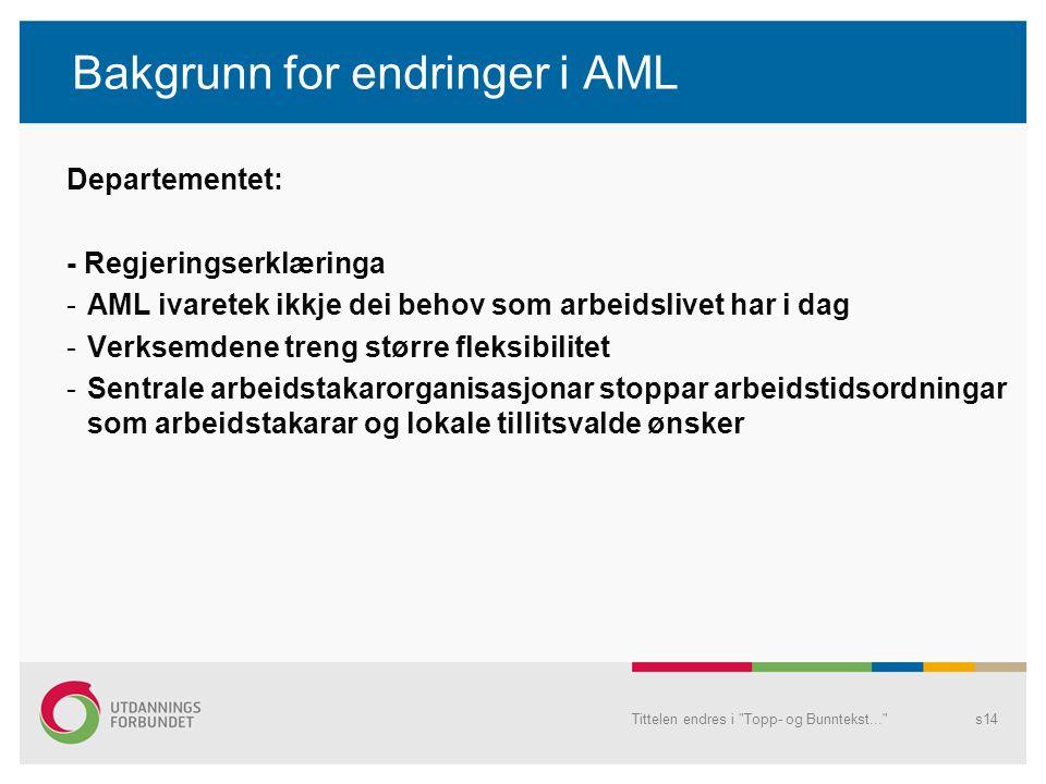 Bakgrunn for endringer i AML Departementet: - Regjeringserklæringa -AML ivaretek ikkje dei behov som arbeidslivet har i dag -Verksemdene treng større