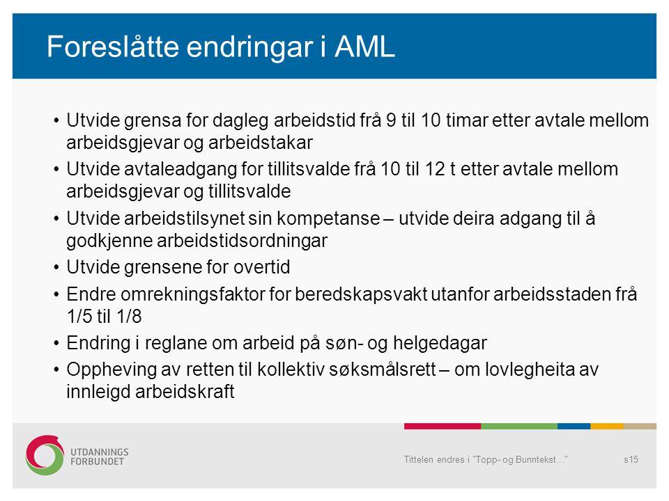 Foreslåtte endringar i AML Utvide grensa for dagleg arbeidstid frå 9 til 10 timar etter avtale mellom arbeidsgjevar og arbeidstakar Utvide avtaleadgan