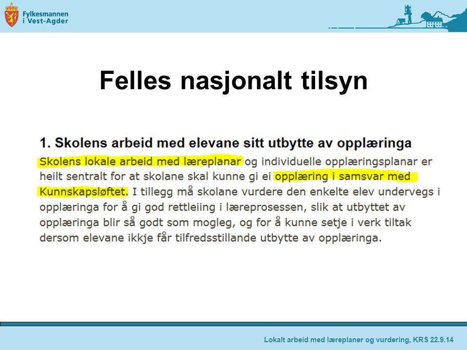 Felles nasjonalt tilsyn Lokalt arbeid med læreplaner og vurdering, KRS 22.9.14