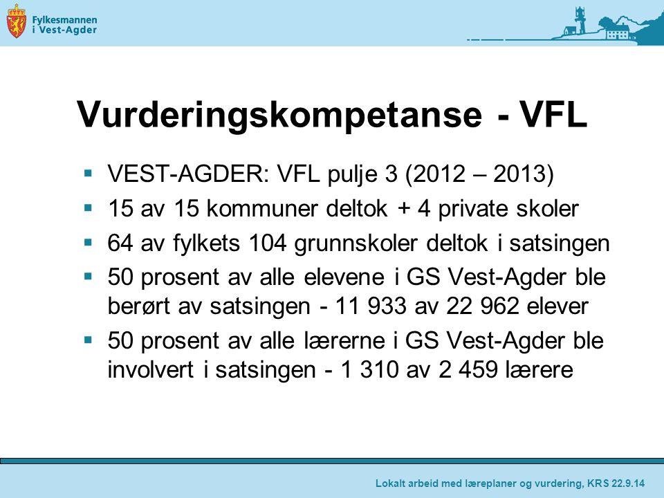 Vurderingskompetanse - VFL  VEST-AGDER: VFL pulje 3 (2012 – 2013)  15 av 15 kommuner deltok + 4 private skoler  64 av fylkets 104 grunnskoler delto