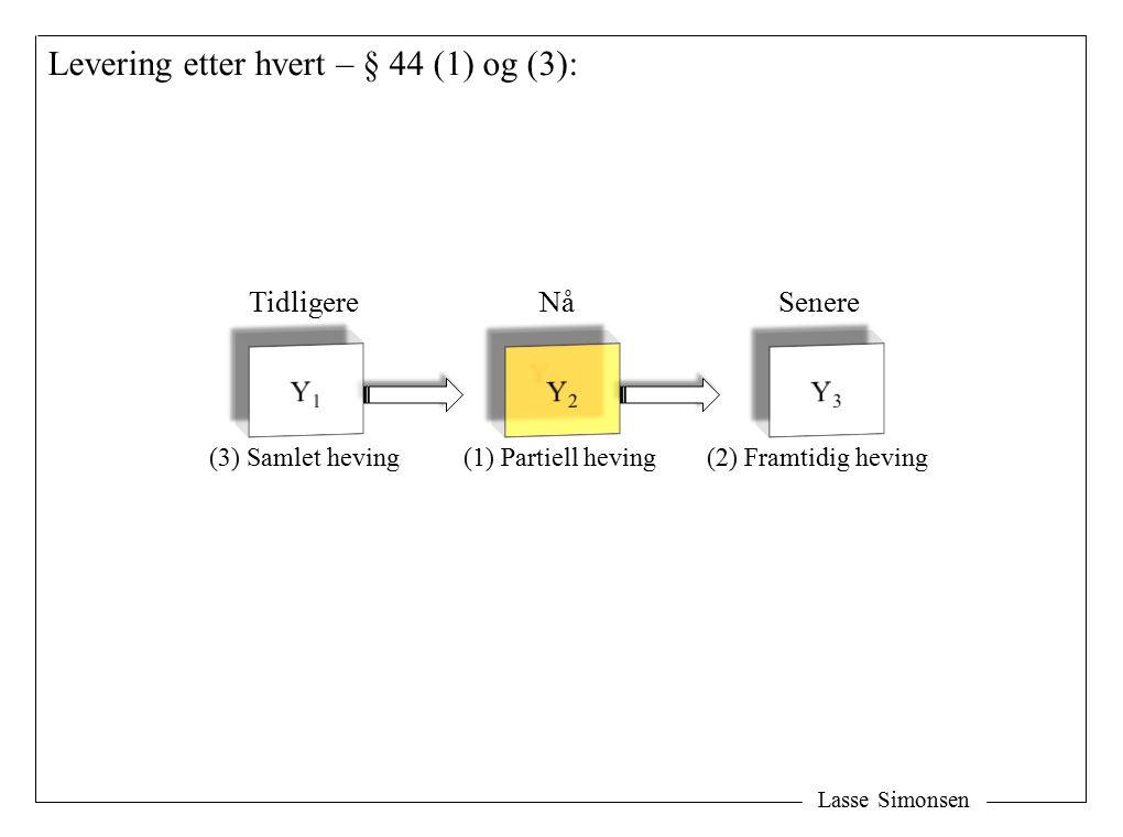 Lasse Simonsen Levering etter hvert – § 44 (1) og (3): TidligereNåSenere (1) Partiell heving(3) Samlet heving(2) Framtidig heving