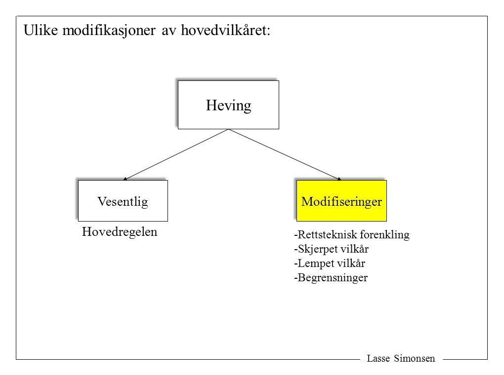 Lasse Simonsen Heving Vesentlig Modifiseringer Ulike modifikasjoner av hovedvilkåret: Hovedregelen -Rettsteknisk forenkling -Skjerpet vilkår -Lempet vilkår -Begrensninger