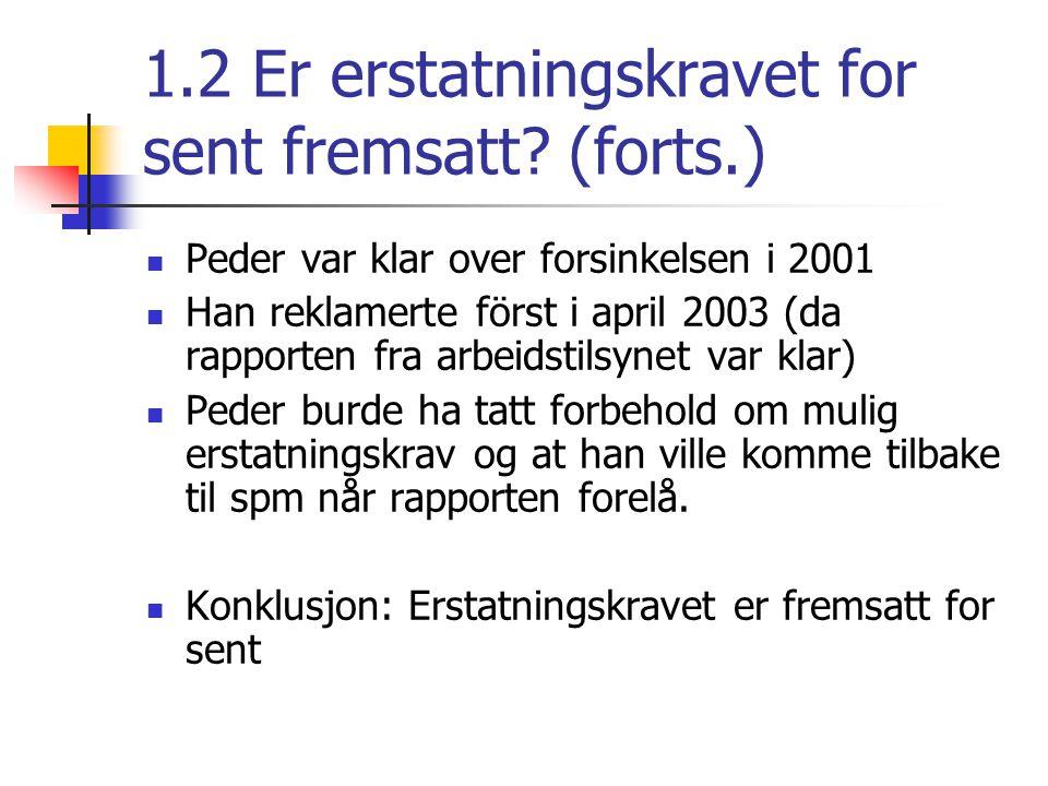 2.Er Holms ansvar begrenset til dagmulkt på NOK 1000 pr dag.