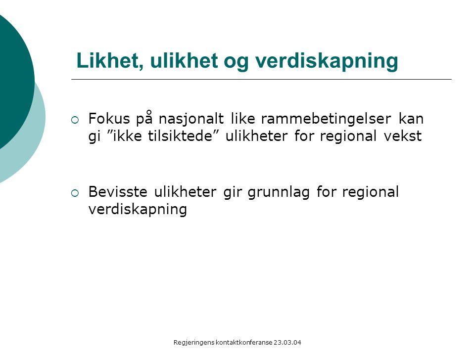 Regjeringens kontaktkonferanse 23.03.04 Likhet, ulikhet og verdiskapning  Fokus på nasjonalt like rammebetingelser kan gi ikke tilsiktede ulikheter for regional vekst  Bevisste ulikheter gir grunnlag for regional verdiskapning