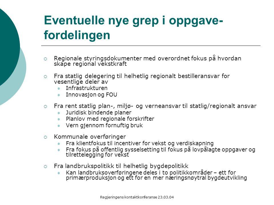 Regjeringens kontaktkonferanse 23.03.04 Eventuelle nye grep i oppgave- fordelingen  Regionale styringsdokumenter med overordnet fokus på hvordan skap