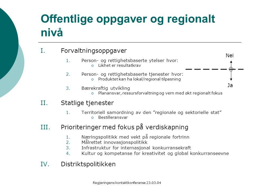 Regjeringens kontaktkonferanse 23.03.04 Offentlige oppgaver og regionalt nivå I.Forvaltningsoppgaver 1.Person- og rettighetsbaserte ytelser hvor: oLik