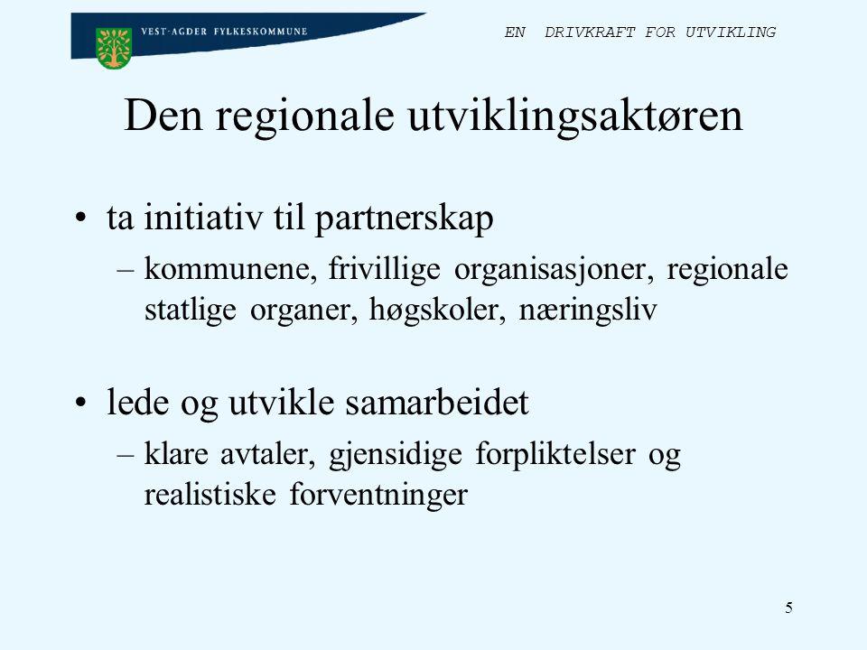 EN DRIVKRAFT FOR UTVIKLING 5 Den regionale utviklingsaktøren ta initiativ til partnerskap –kommunene, frivillige organisasjoner, regionale statlige organer, høgskoler, næringsliv lede og utvikle samarbeidet –klare avtaler, gjensidige forpliktelser og realistiske forventninger