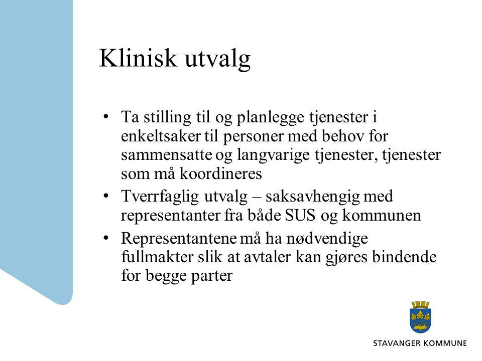 Klinisk utvalg Ta stilling til og planlegge tjenester i enkeltsaker til personer med behov for sammensatte og langvarige tjenester, tjenester som må k