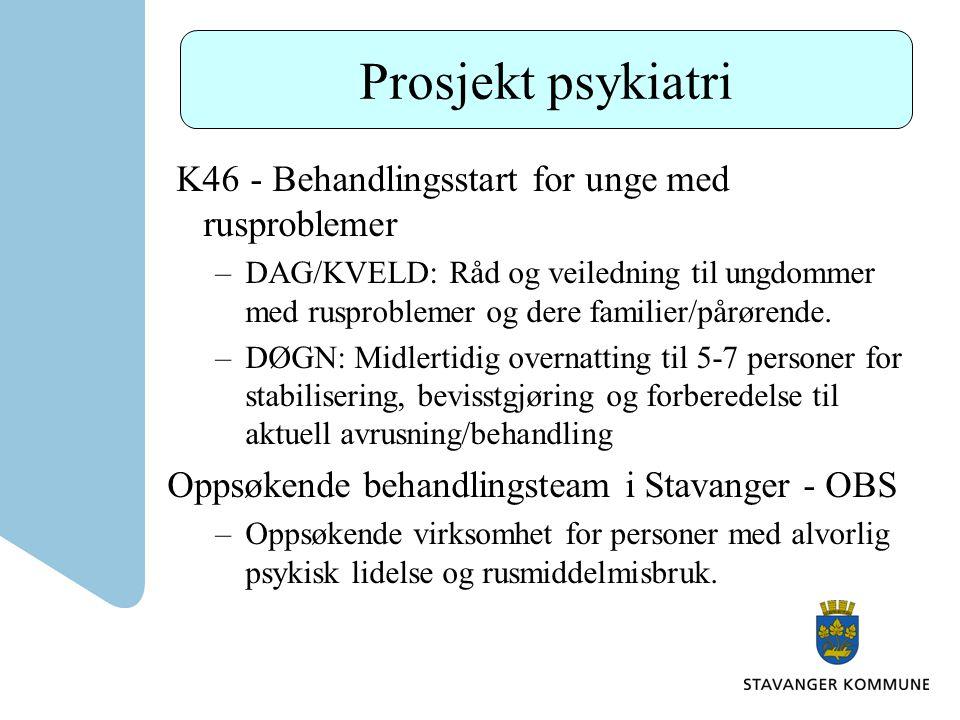 Prosjekt psykiatri K46 - Behandlingsstart for unge med rusproblemer –DAG/KVELD: Råd og veiledning til ungdommer med rusproblemer og dere familier/pårø