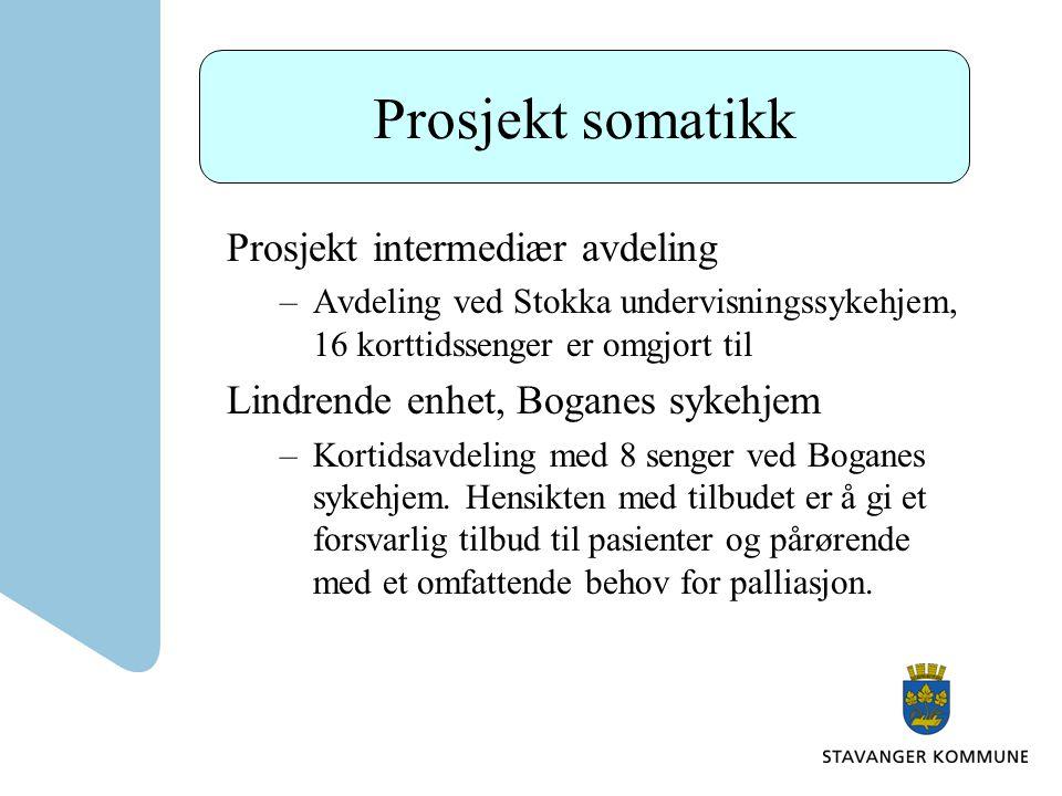 Prosjekt somatikk Prosjekt intermediær avdeling –Avdeling ved Stokka undervisningssykehjem, 16 korttidssenger er omgjort til Lindrende enhet, Boganes