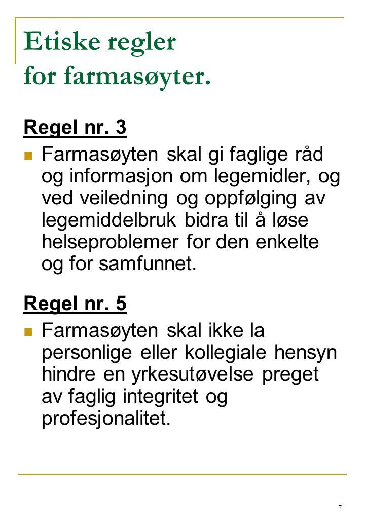 28 Eksempel: Feilbruk av reseptfrie smertestillende En kunde kjøper 20 tabletter Fanalgin et par ganger i uka over lengre tid.
