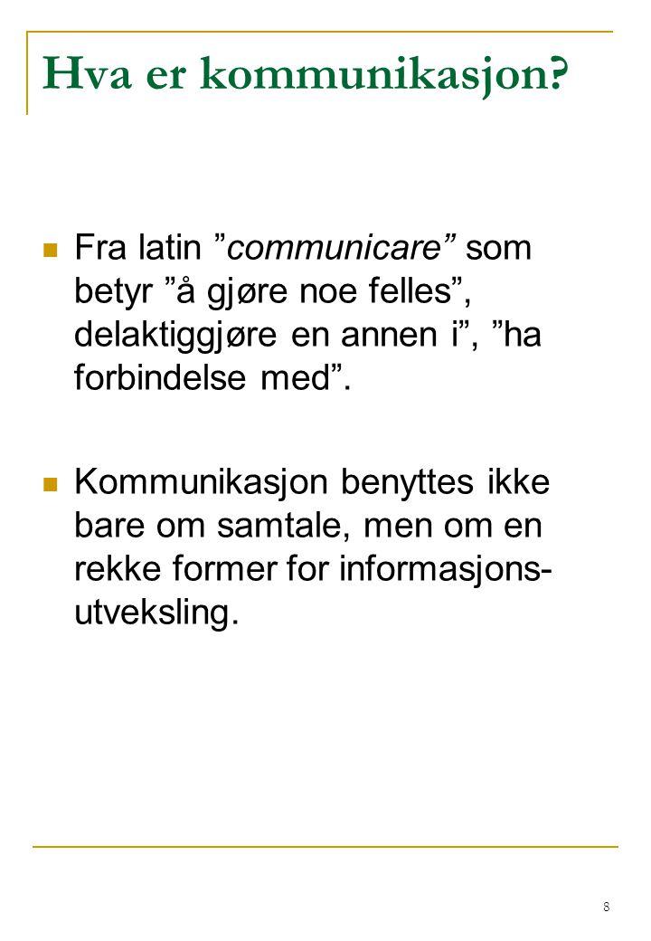 9 Kommunikasjonens grunn-elementer.