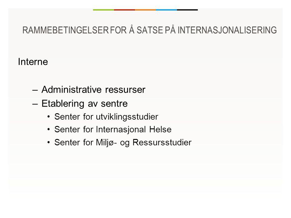 RAMMEBETINGELSER FOR Å SATSE PÅ INTERNASJONALISERING Interne –Administrative ressurser –Etablering av sentre Senter for utviklingsstudier Senter for Internasjonal Helse Senter for Miljø- og Ressursstudier