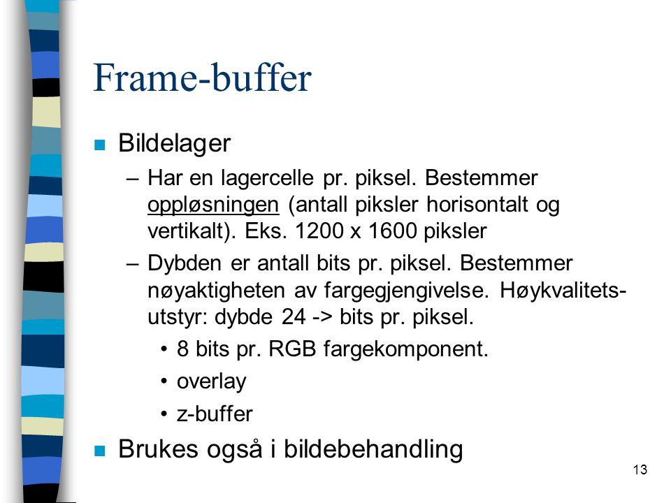 13 Frame-buffer n Bildelager –Har en lagercelle pr.