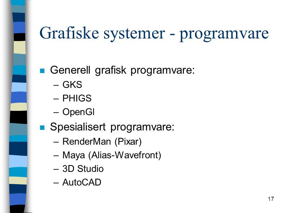 17 Grafiske systemer - programvare n Generell grafisk programvare: –GKS –PHIGS –OpenGl n Spesialisert programvare: –RenderMan (Pixar) –Maya (Alias-Wavefront) –3D Studio –AutoCAD