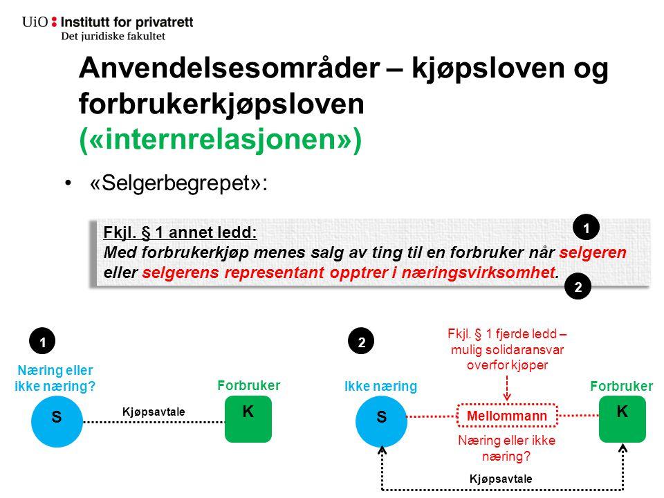 Anvendelsesområder – kjøpsloven og forbrukerkjøpsloven («internrelasjonen») «Selgerbegrepet»: Fkjl. § 1 annet ledd: Med forbrukerkjøp menes salg av ti