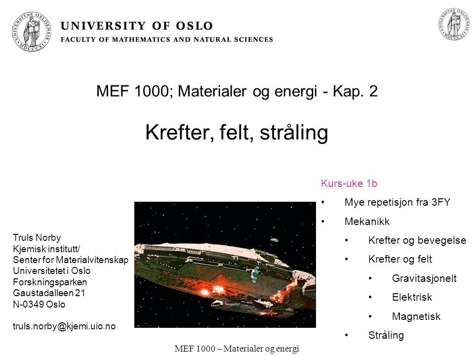 MEF 1000 – Materialer og energi Vekselstrømsgenerator Bruker induksjonsloven (forrige side) til å omsette roterende bevegelse (mekanisk arbeid) til elektrisk vekselstrøm.
