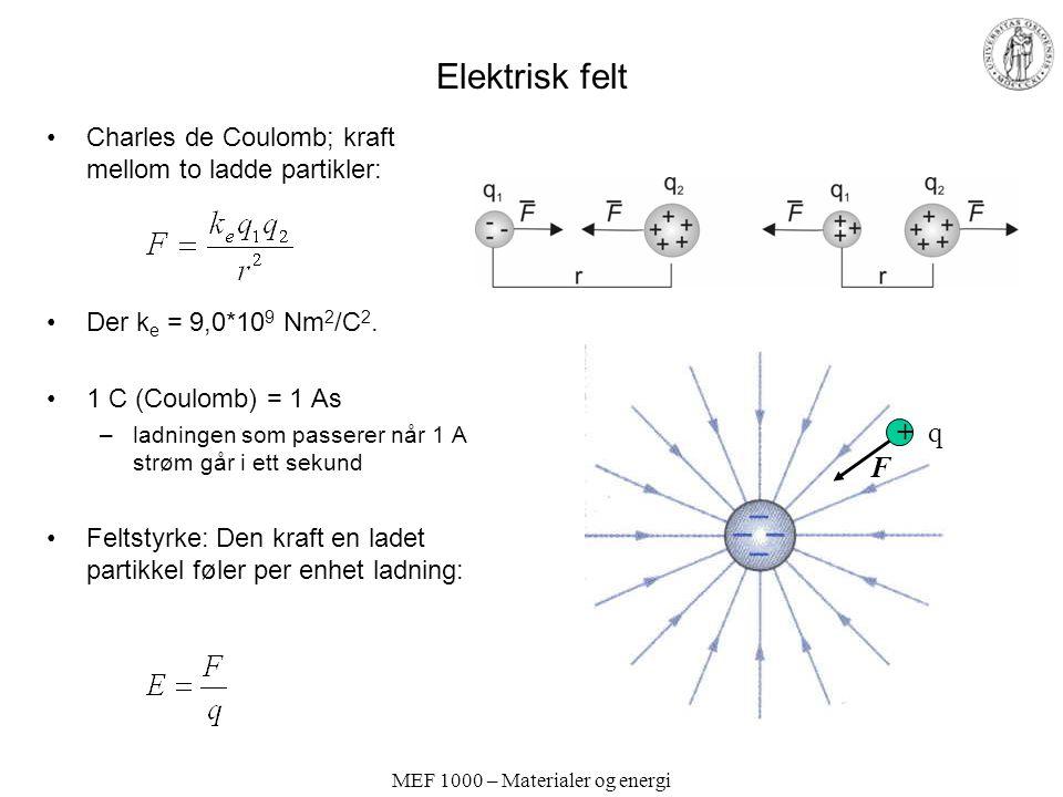 MEF 1000 – Materialer og energi Elektrisk felt Charles de Coulomb; kraft mellom to ladde partikler: Der k e = 9,0*10 9 Nm 2 /C 2.