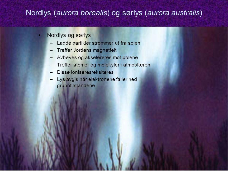 MEF 1000 – Materialer og energi Nordlys (aurora borealis) og sørlys (aurora australis) Nordlys og sørlys –Ladde partikler strømmer ut fra solen –Treffer Jordens magnetfelt –Avbøyes og akselereres mot polene –Treffer atomer og molekyler i atmosfæren –Disse ioniseres/eksiteres –Lys avgis når elektronene faller ned i grunntilstandene