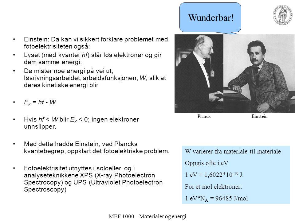 MEF 1000 – Materialer og energi Einstein: Da kan vi sikkert forklare problemet med fotoelektrisiteten også: Lyset (med kvanter hf) slår løs elektroner og gir dem samme energi.