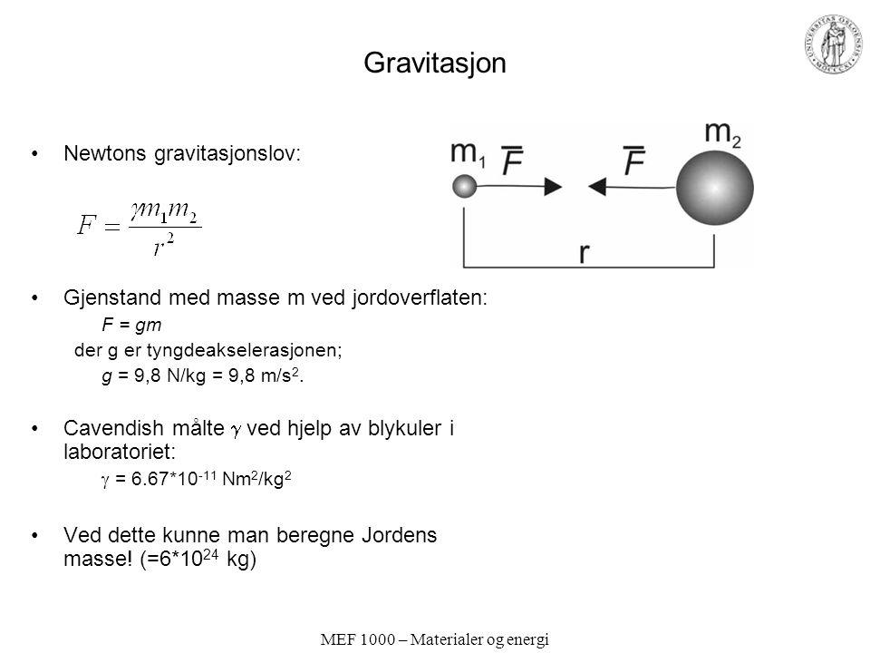 MEF 1000 – Materialer og energi Potensiell energi i gravitasjonsfelt Potensiell energi for legeme med masse m i gravitasjonsfelt til legeme med masse M: Referansepunkt uendelig langt ute: E p = 0 ved r =  Ved jordoverflaten: E p = -gmr Økning i potensiell energi ved høyde h:  E p = gmh Arbeid for å heve m høyden h: w = gmh