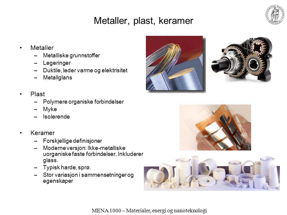 MENA 1000 – Materialer, energi og nanoteknologi Konstruksjonsmaterialer og funksjonelle materialer Konstruksjonsmaterialer (strukturelle materialer) –