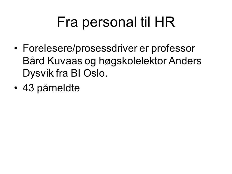 Fra personal til HR Forelesere/prosessdriver er professor Bård Kuvaas og høgskolelektor Anders Dysvik fra BI Oslo. 43 påmeldte