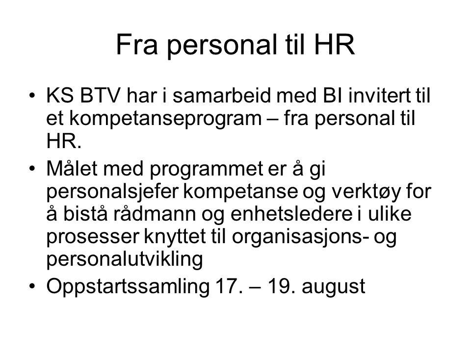 Fra personal til HR KS BTV har i samarbeid med BI invitert til et kompetanseprogram – fra personal til HR. Målet med programmet er å gi personalsjefer