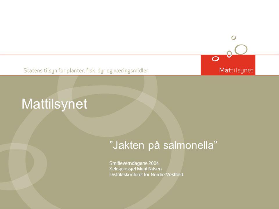"""Mattilsynet """"Jakten på salmonella"""" Smitteverndagene 2004 Seksjonssjef Marit Nilsen Distriktskontoret for Nordre Vestfold"""