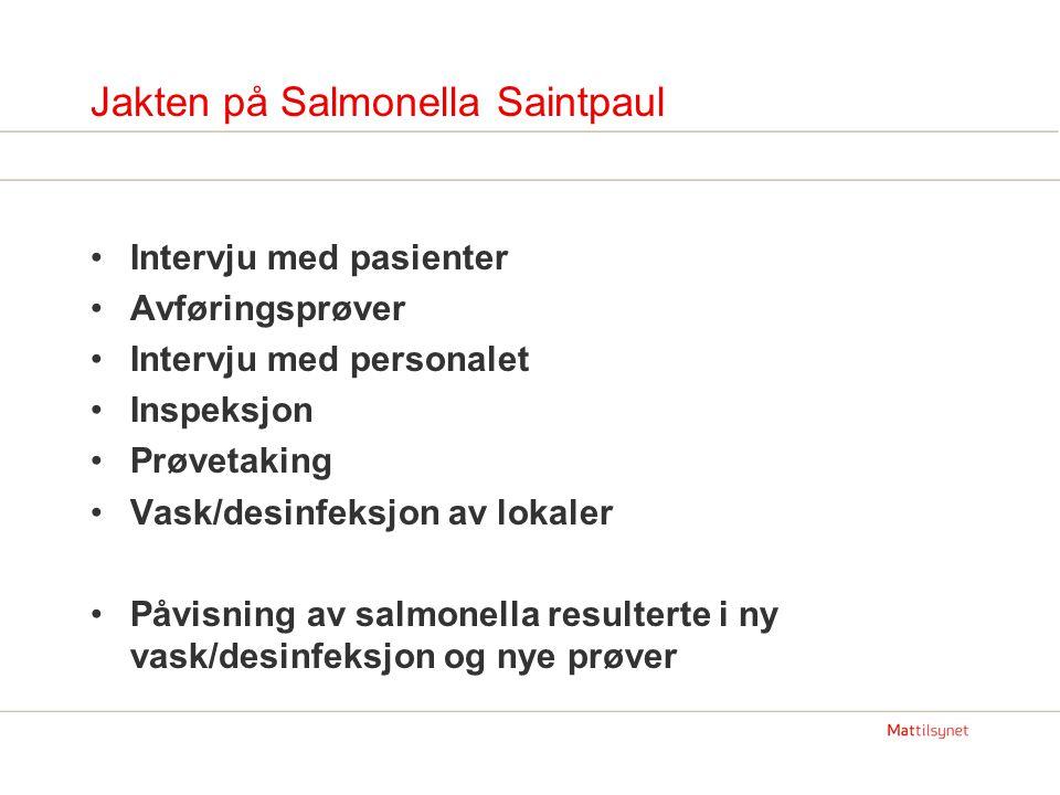 Jakten på Salmonella Saintpaul Intervju med pasienter Avføringsprøver Intervju med personalet Inspeksjon Prøvetaking Vask/desinfeksjon av lokaler Påvisning av salmonella resulterte i ny vask/desinfeksjon og nye prøver