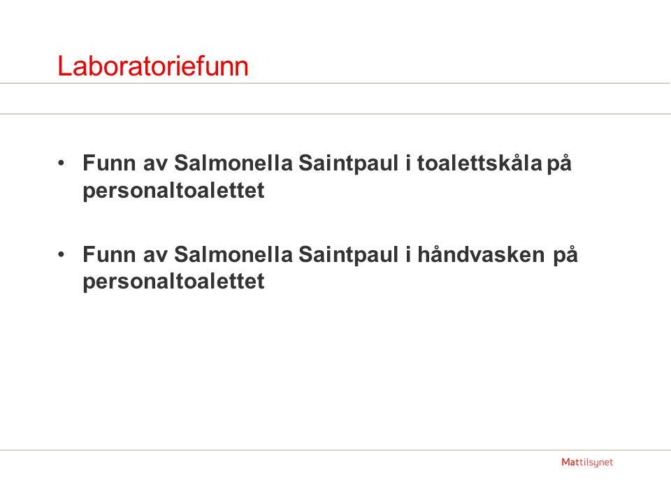 Laboratoriefunn Funn av Salmonella Saintpaul i toalettskåla på personaltoalettet Funn av Salmonella Saintpaul i håndvasken på personaltoalettet