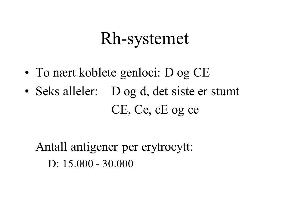 Rh-systemet To nært koblete genloci: D og CE Seks alleler:D og d, det siste er stumt CE, Ce, cE og ce Antall antigener per erytrocytt: D: 15.000 - 30.000