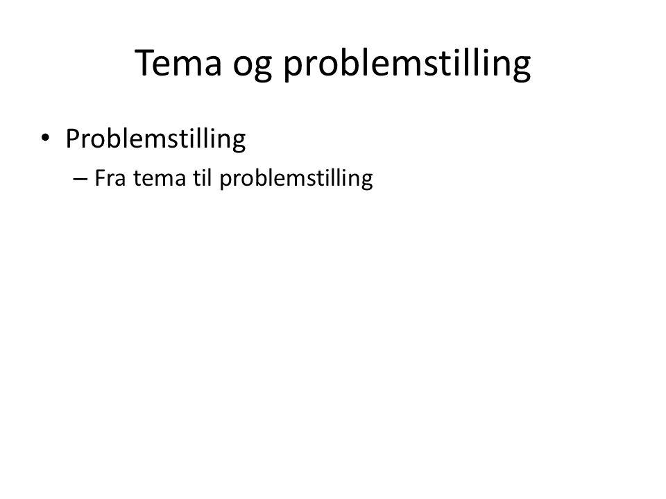 Tema og problemstilling Problemstilling – Fra tema til problemstilling