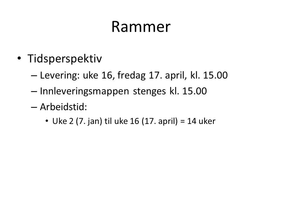 Rammer Tidsperspektiv – Levering: uke 16, fredag 17.