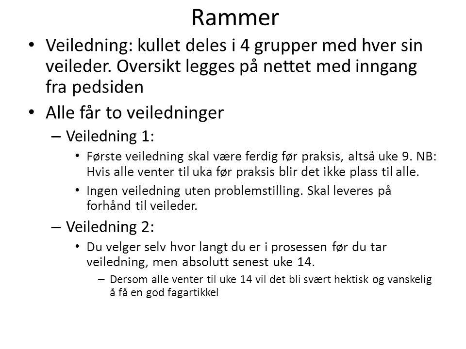 Rammer Veiledning: kullet deles i 4 grupper med hver sin veileder.