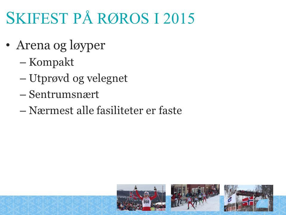 S KIFEST PÅ RØROS I 2015 Arena og løyper – Kompakt – Utprøvd og velegnet – Sentrumsnært – Nærmest alle fasiliteter er faste