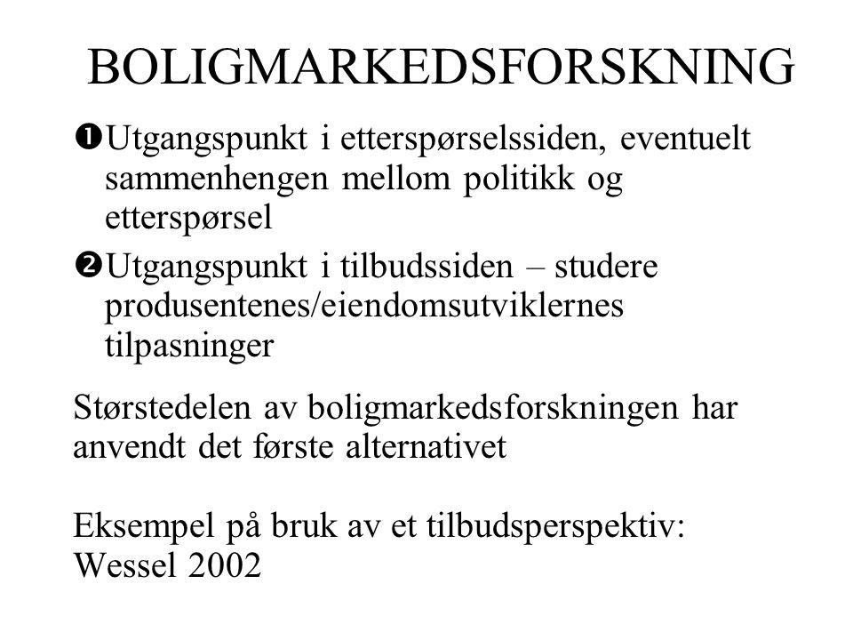 BOLIGMARKEDSFORSKNING  Utgangspunkt i etterspørselssiden, eventuelt sammenhengen mellom politikk og etterspørsel  Utgangspunkt i tilbudssiden – studere produsentenes/eiendomsutviklernes tilpasninger Størstedelen av boligmarkedsforskningen har anvendt det første alternativet Eksempel på bruk av et tilbudsperspektiv: Wessel 2002