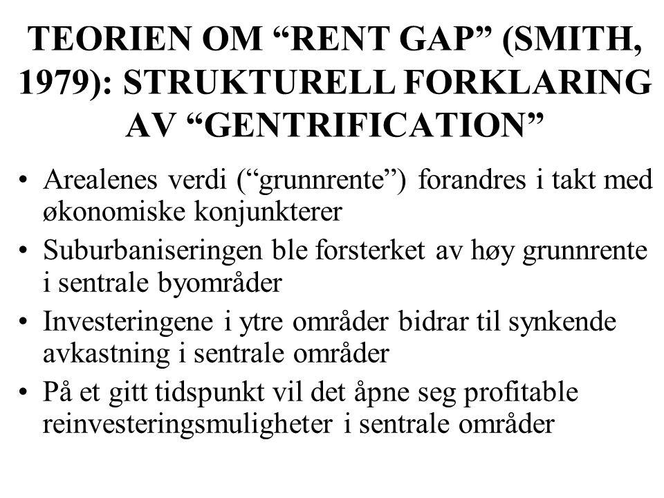 """TEORIEN OM """"RENT GAP"""" (SMITH, 1979): STRUKTURELL FORKLARING AV """"GENTRIFICATION"""" Arealenes verdi (""""grunnrente"""") forandres i takt med økonomiske konjunk"""