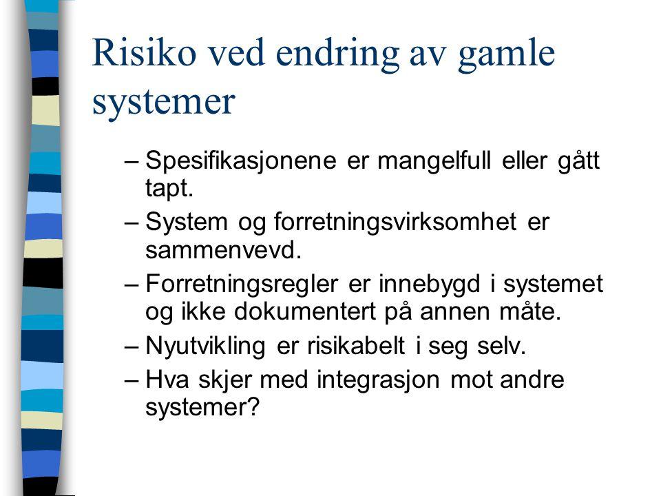 Risiko ved endring av gamle systemer –Spesifikasjonene er mangelfull eller gått tapt.