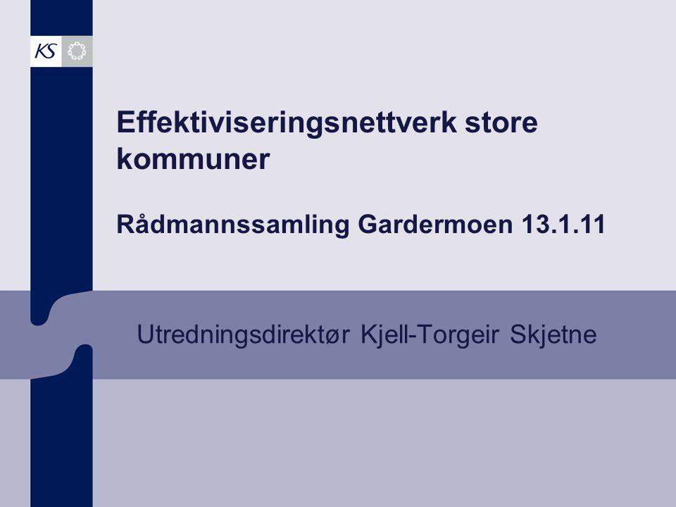 Effektiviseringsnettverk store kommuner Rådmannssamling Gardermoen 13.1.11 Utredningsdirektør Kjell-Torgeir Skjetne
