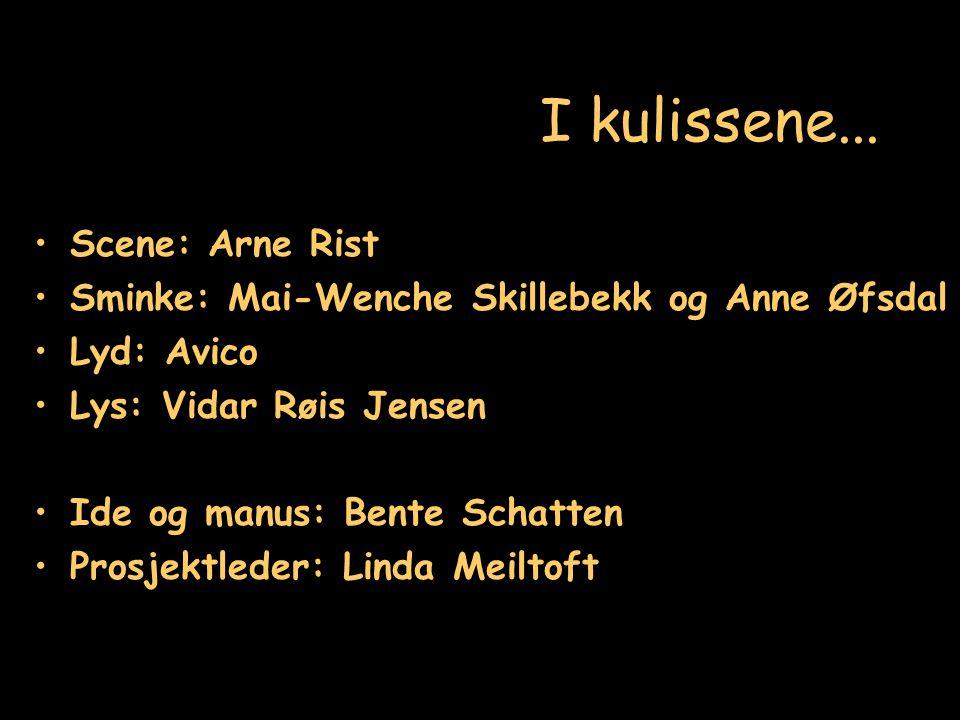 I kulissene... Scene: Arne Rist Sminke: Mai-Wenche Skillebekk og Anne Øfsdal Lyd: Avico Lys: Vidar Røis Jensen Ide og manus: Bente Schatten Prosjektle