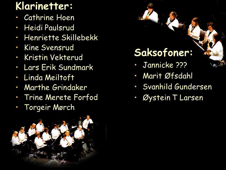Klarinetter: Cathrine Hoen Heidi Paulsrud Henriette Skillebekk Kine Svensrud Kristin Vekterud Lars Erik Sundmark Linda Meiltoft Marthe Grindaker Trine