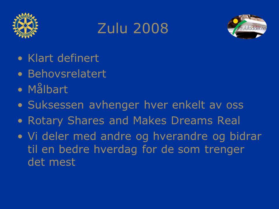 Zulu 2008 Klart definert Behovsrelatert Målbart Suksessen avhenger hver enkelt av oss Rotary Shares and Makes Dreams Real Vi deler med andre og hverandre og bidrar til en bedre hverdag for de som trenger det mest