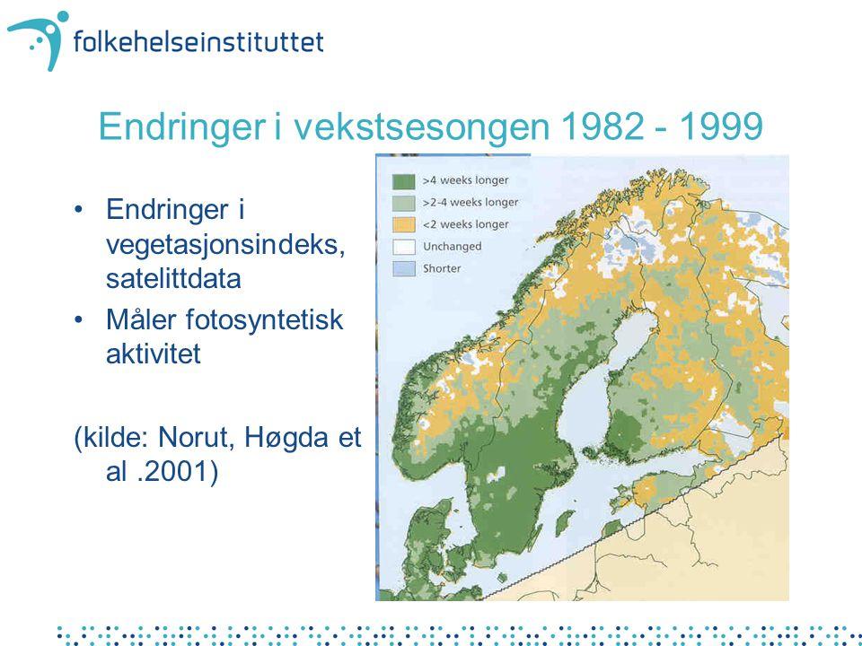 Endringer i vekstsesongen 1982 - 1999 Endringer i vegetasjonsindeks, satelittdata Måler fotosyntetisk aktivitet (kilde: Norut, Høgda et al.2001)