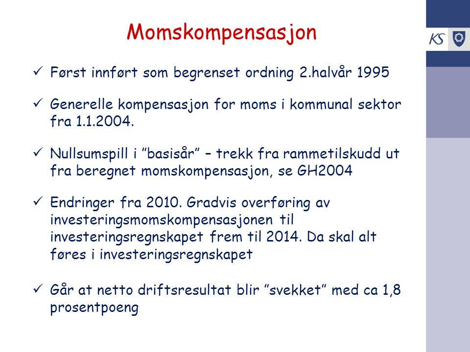 """Momskompensasjon Først innført som begrenset ordning 2.halvår 1995 Generelle kompensasjon for moms i kommunal sektor fra 1.1.2004. Nullsumspill i """"bas"""