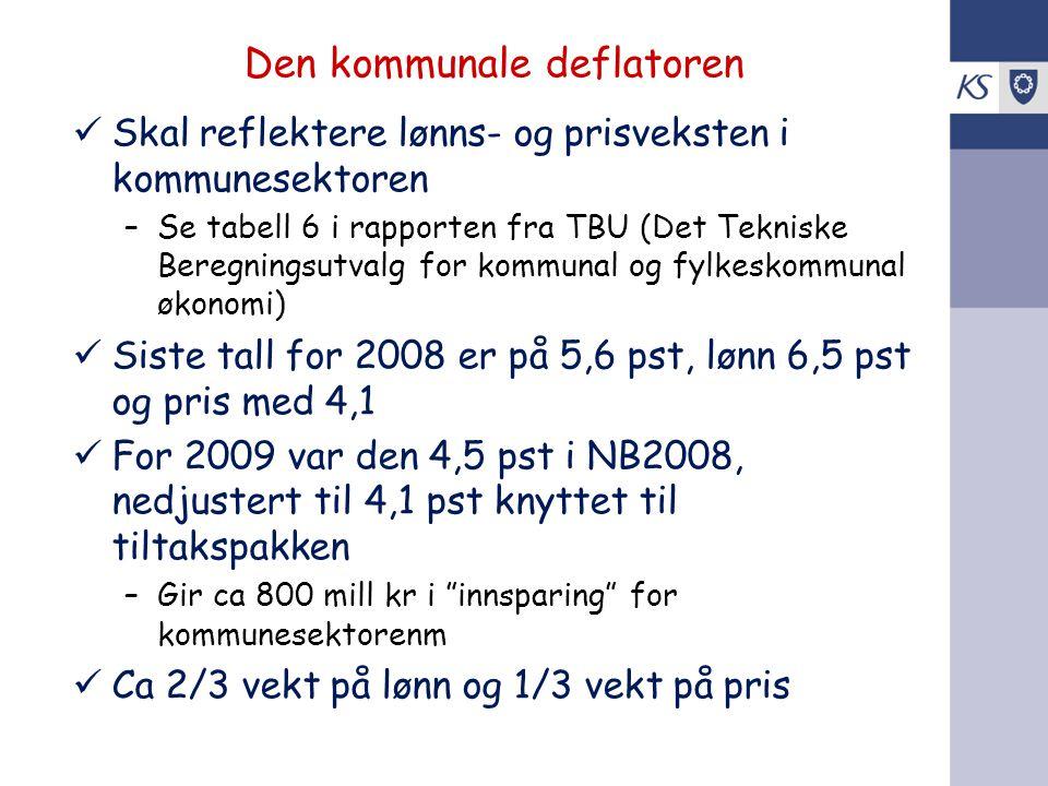 Den kommunale deflatoren Skal reflektere lønns- og prisveksten i kommunesektoren –Se tabell 6 i rapporten fra TBU (Det Tekniske Beregningsutvalg for k