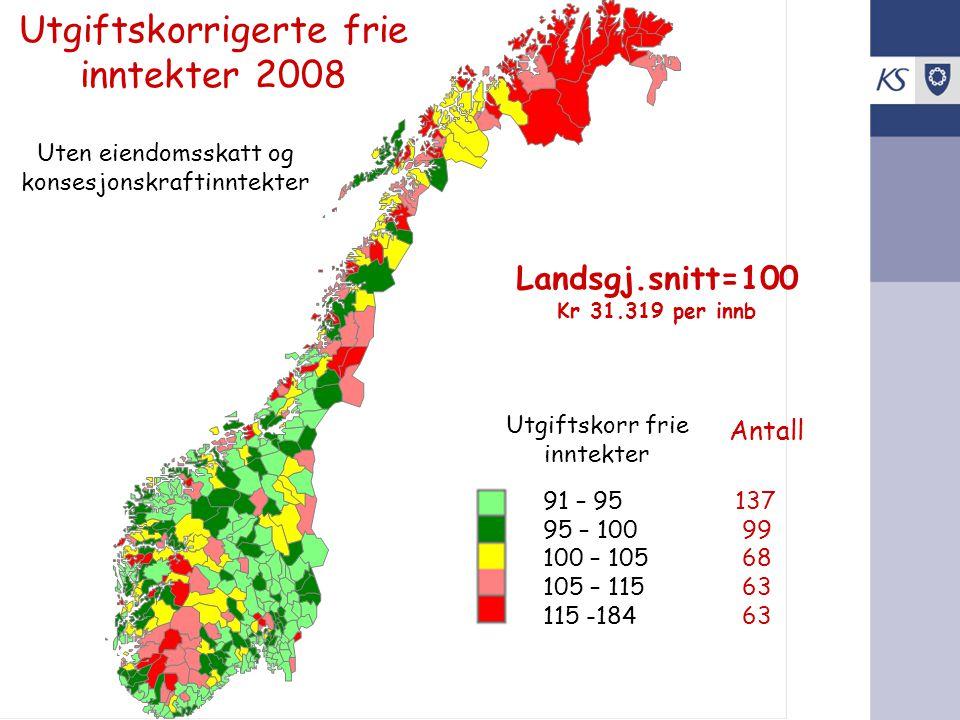 Utgiftskorrigerte frie inntekter 2008 Uten eiendomsskatt og konsesjonskraftinntekter Landsgj.snitt=100 Kr 31.319 per innb 91 – 95137 95 – 100 99 100 –