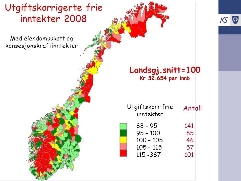 Utgiftskorrigerte frie inntekter 2008 Med eiendomsskatt og konsesjonskraftinntekter Landsgj.snitt=100 Kr 32.654 per innb Utgiftskorr frie inntekter 88